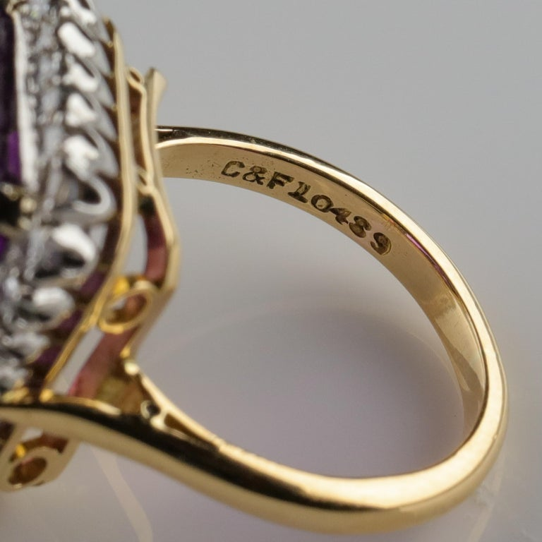 Amethyst Ring by British Royal Jeweler in Original Box with Receipt For Sale 6