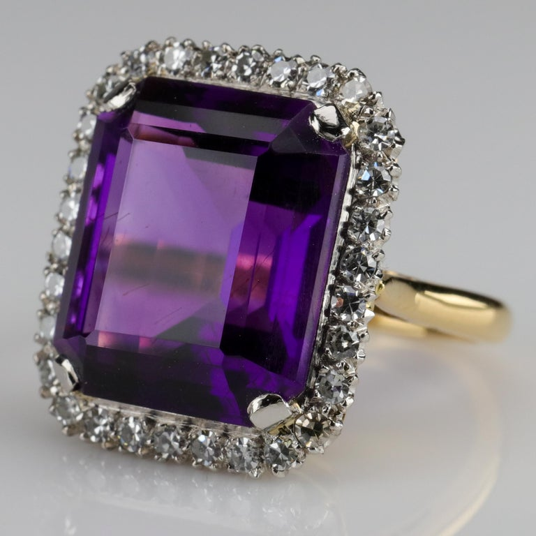 Modern Amethyst Ring by British Royal Jeweler in Original Box with Receipt For Sale