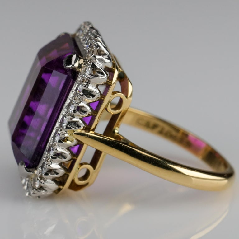 Emerald Cut Amethyst Ring by British Royal Jeweler in Original Box with Receipt For Sale