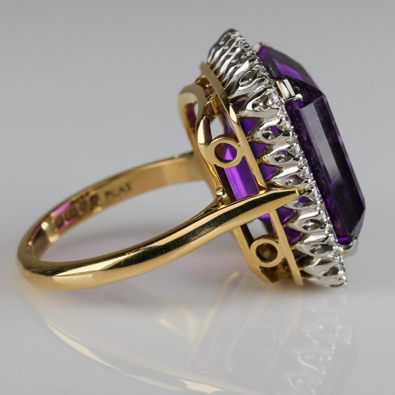 Amethyst Ring by British Royal Jeweler in Original Box with Receipt For Sale 1