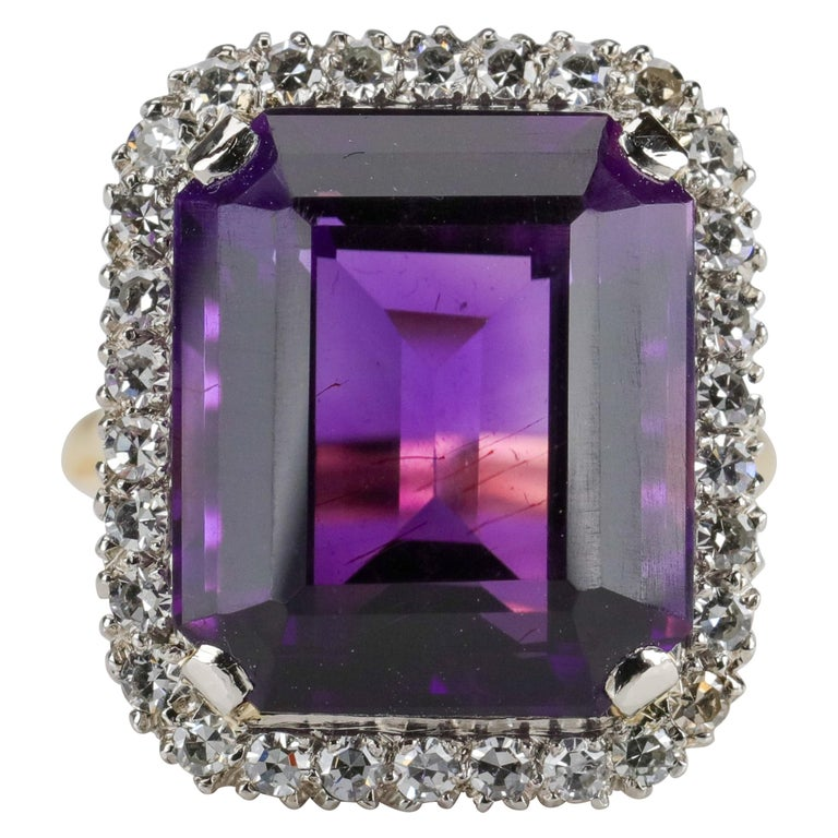 Amethyst Ring by British Royal Jeweler in Original Box with Receipt For Sale