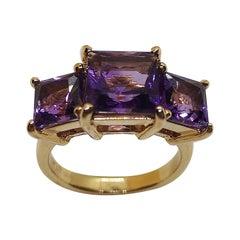 Amethyst Ring Set in 18 Karat Rose Gold Settings