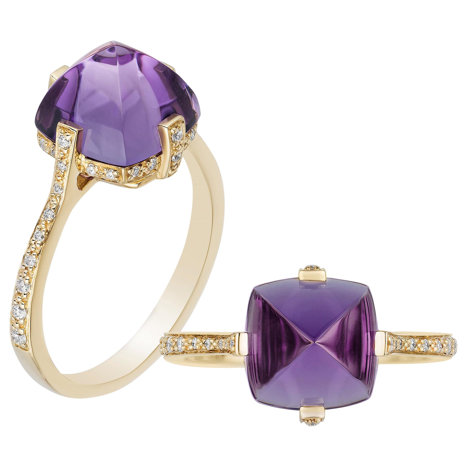 Goshwara Amethyst And Diamond Ring