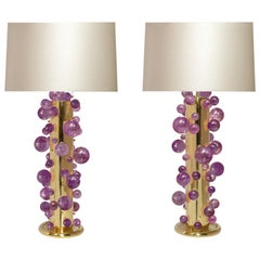 Amethyst Rock Crystal Bubble Lamps by Phoenix