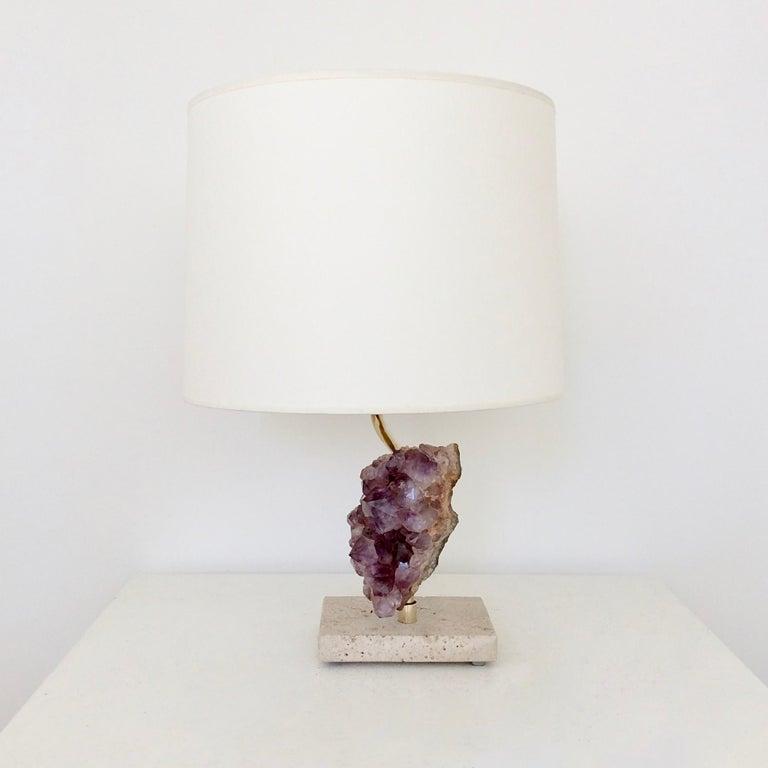 Belgian Amethyst Rock Table Lamp, circa 1970, Belgium For Sale
