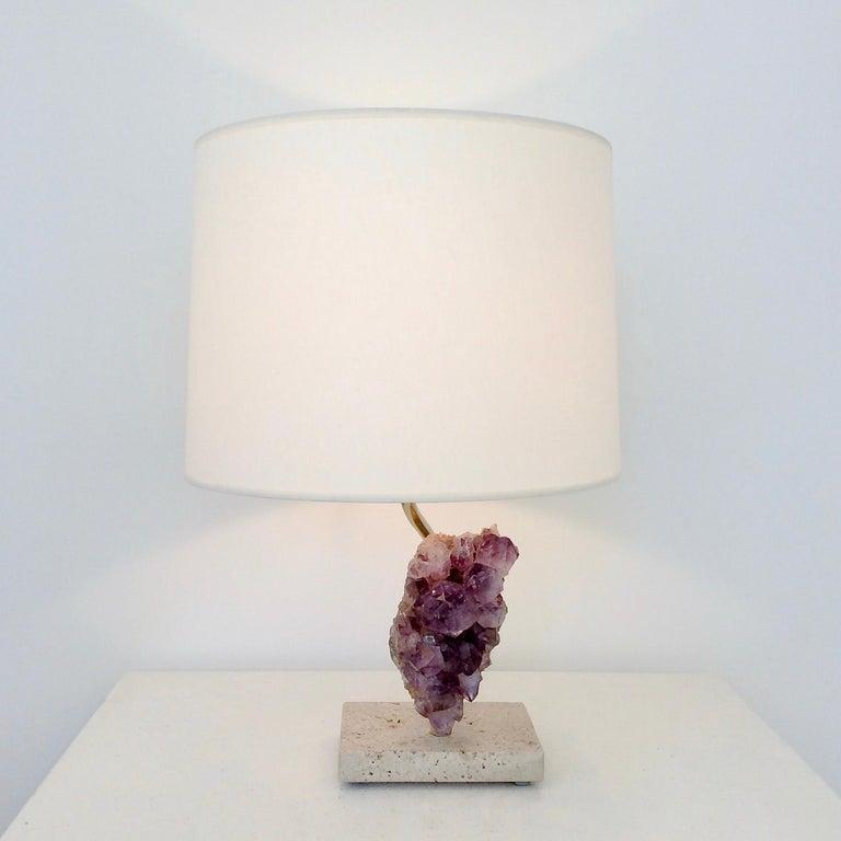 Amethyst Rock Table Lamp, circa 1970, Belgium For Sale 1