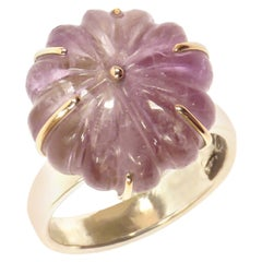 Amethyst Rose Gold Sterling Silver Ring Handcrafted in Italy by Botta Gioielli