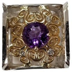 Amethyst Round 2.57 Carat with Diamonds 14 Karat Yellow Gold and Silver Gresha