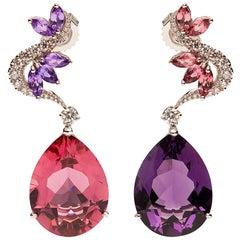 Amethyst and Rubelite Pear Shape Earrings with Diamonds