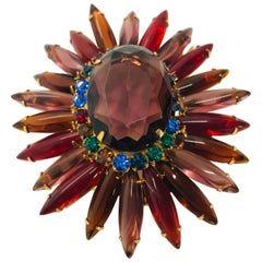 "Amethyst, Ruby and Smoked Topaz Austrian Crystal ""Ruffle"" Brooch"