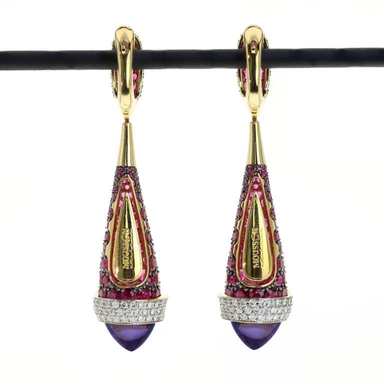 Amethyst dome cabochons 8.87 carat, Ruby 8.19 carat, Diamond 0.77 carat 18 Karat Yellow Gold Earrings  Have Ring LU116414707711  12.3x51 mm 13.65 gm