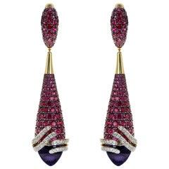 Amethyst Ruby Diamond 18 Karat Yellow Gold Earrings