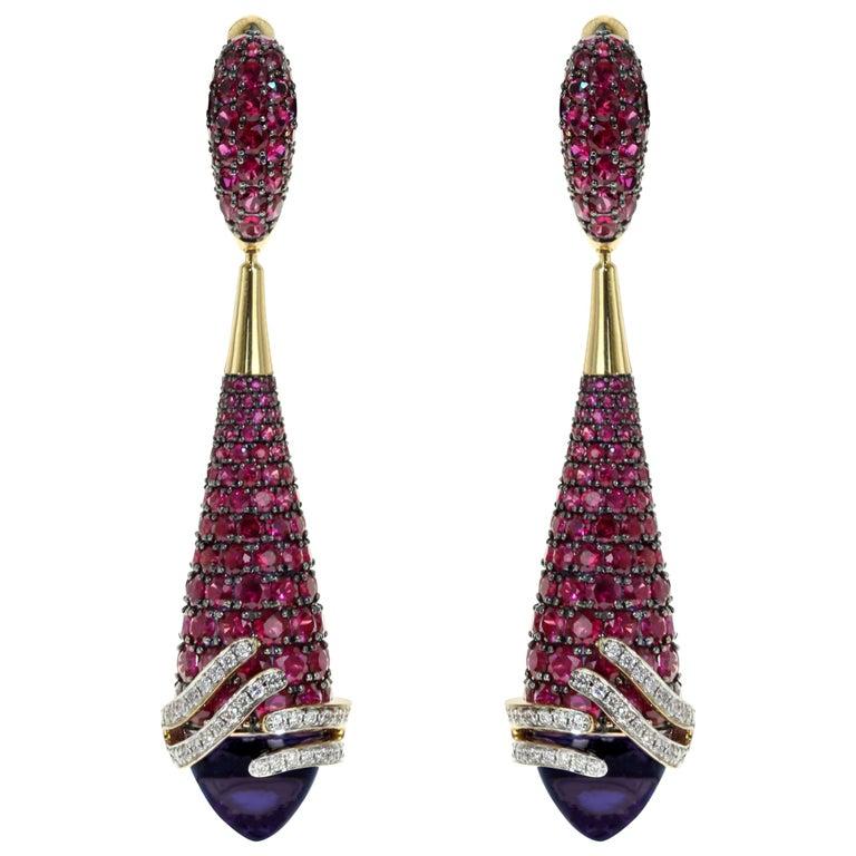 Amethyst Ruby Diamond 18 Karat Yellow Gold Earrings For Sale