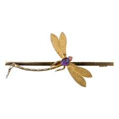 Amethyst Ruby Dragonfly Brooch Yellow Gold Vintage Jewelry