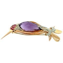 Amethyst, Sapphire and Diamond Hummingbird Pin