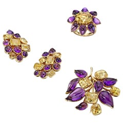 Suzanne Belperron Paris 1951 Gemstone Brooch, Ear Clips and Ring