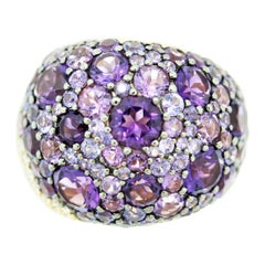 Amethyst Sapphire Diamond Gold Domed Cocktail Ring