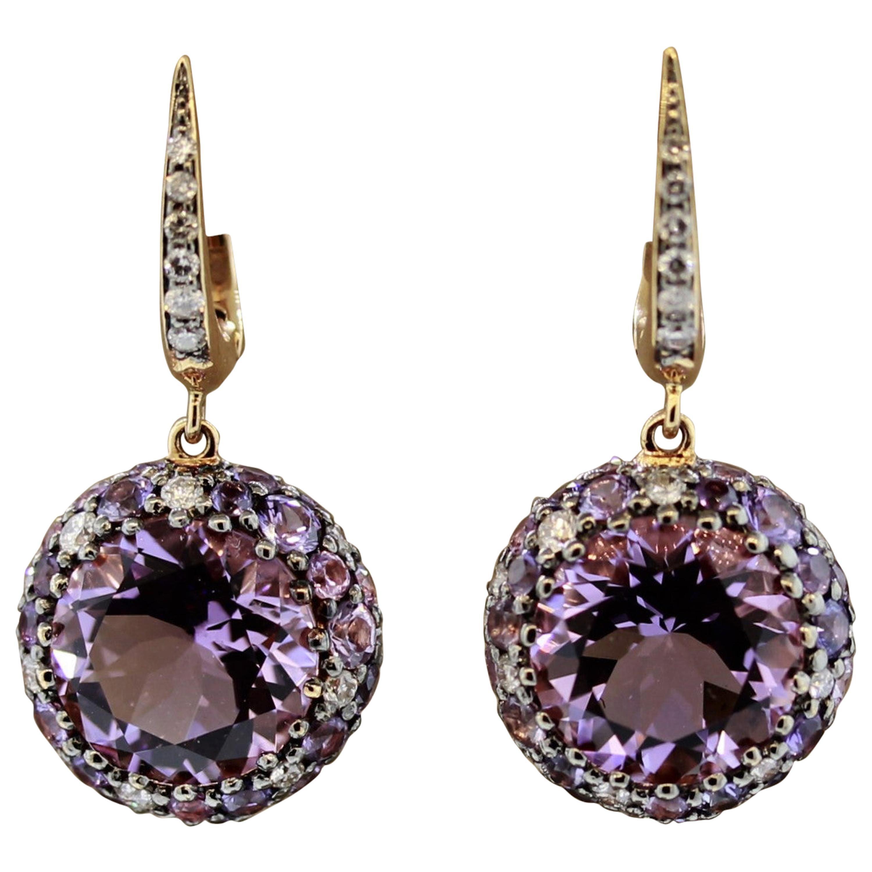 Amethyst Sapphire Diamond Gold Drop Earrings