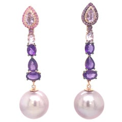 Amethyst Sapphire Pink Freshwater Pearl Earrings 3.13 Carats 18K Rose Gold