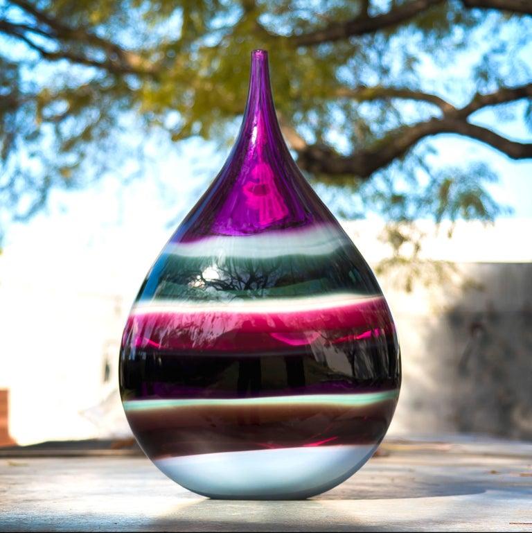 American Amethyst Series - Large Glass Teardrop by Caleb Siemon For Sale