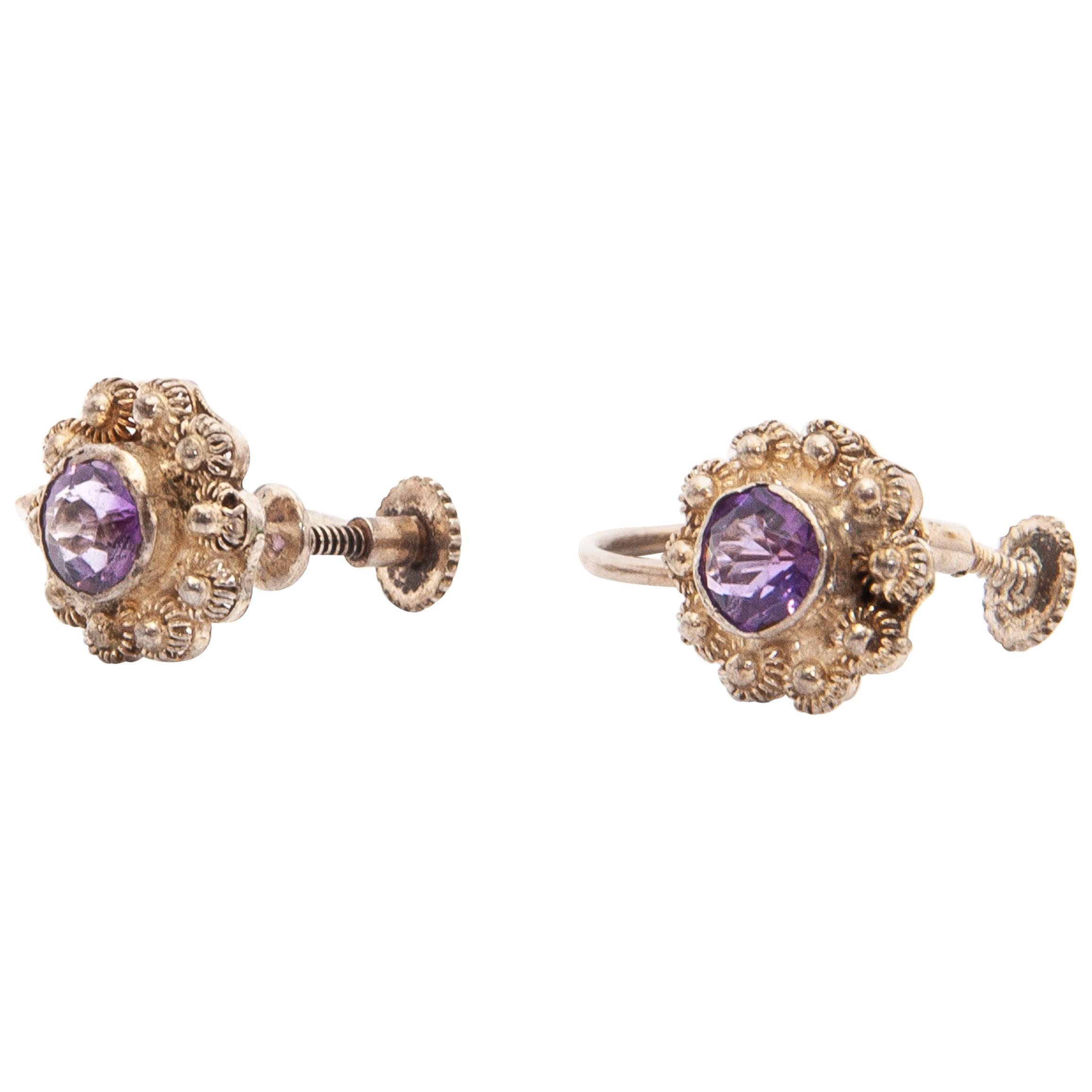 Silver Amethyst Stud Earrings and Bracelet Jewelry Set