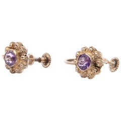 Amethyst Silver Stud Back Screw Earrings and Link Bracelet
