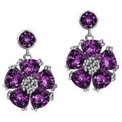Amethyst Single Blossom Drop Earrings
