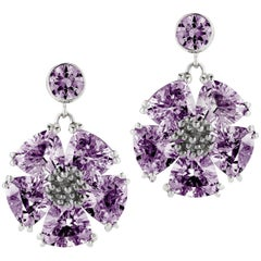 Amethyst Single Blossom Drop Earrings