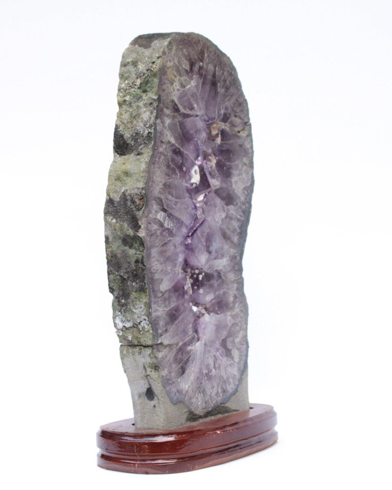 Organic Modern Amethyst Slice with Calcite Deposits and a Baroque Pearl on a Polished Wood Base For Sale
