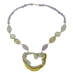 Amethyst Smokey Quartz Clear Quartz Rose Quartz Druzy Agate Gold Fill Necklace