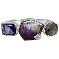 Stephen Dweck Amethyst, Smoky Topaz, and Rutilated Topaz Sterling Silver Bangle