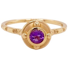 Amethyst Solitaire Ring, Yellow Gold, Round, Purple, Stackable, Bezel, February