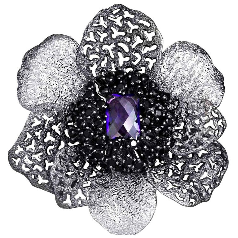 Amethyst Spinel Sterling Silver Platinum Textured Brooch Pendant Headpiece For Sale