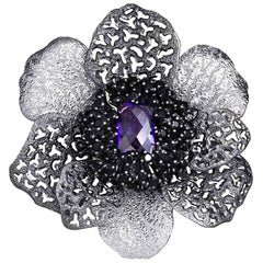 Amethyst Spinel Sterling Silver Platinum Textured Brooch Pendant Headpiece