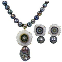 Amethyst Stalactite and Black Pearl Stud Earrings and Pendant Necklace Set