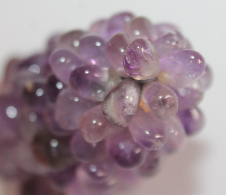 Hand-Crafted Amethyst Stone Mini Grapes Bunch For Sale