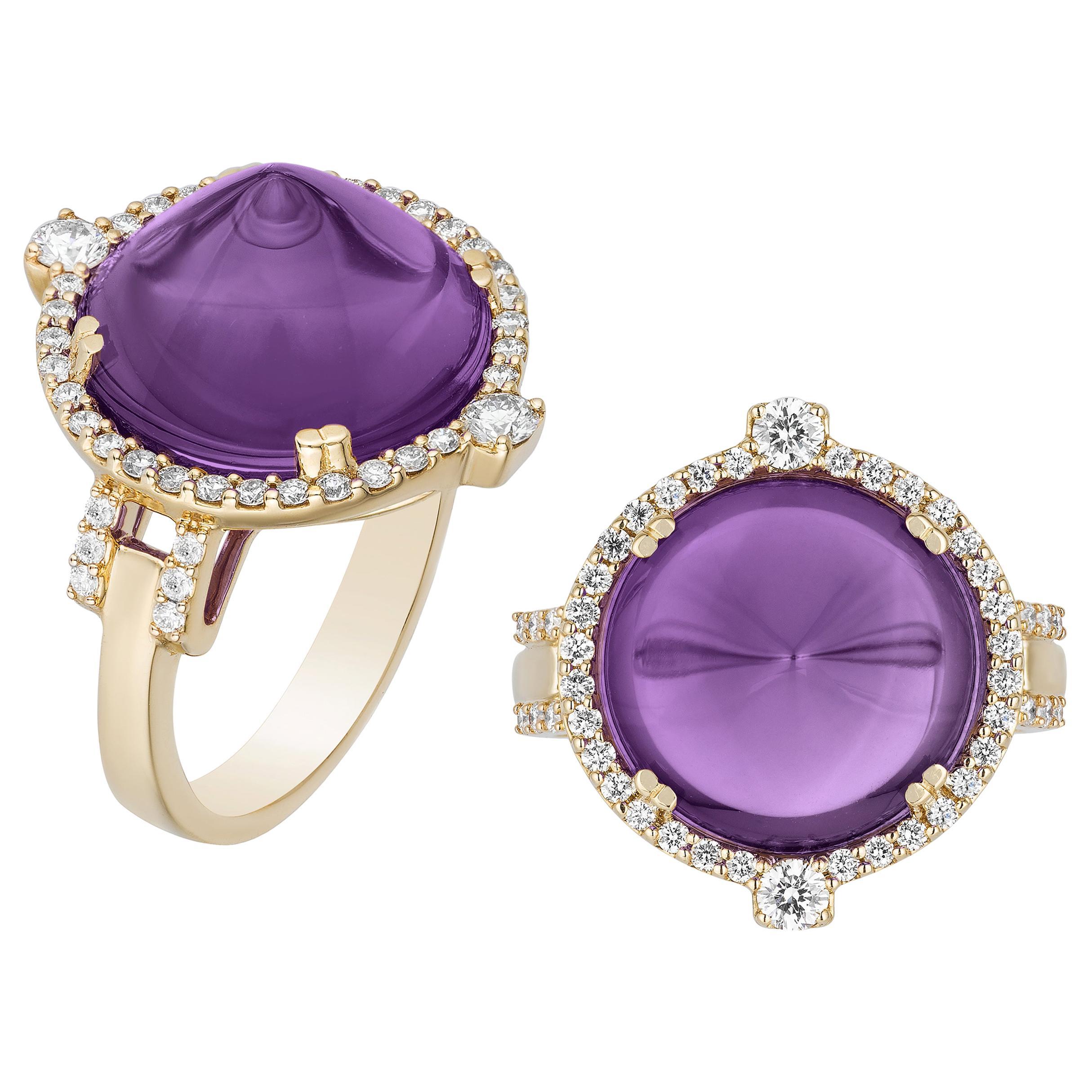 Goshwara Amethyst Sugar Loaf And Diamond Ring