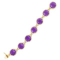 Goshwara Amethyst Sugar Loaf And Diamond Bracelet