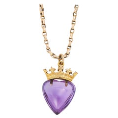 Amethyst Sweetheart Pendant and Chain, Early 1900s