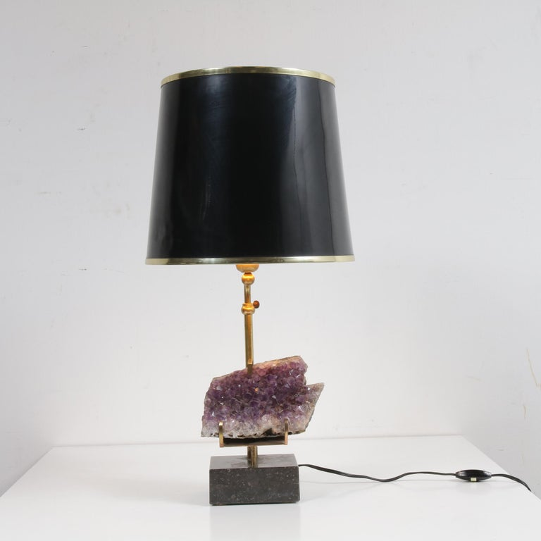 Mid-Century Modern Amethyst Table Lamp in the Style of Willy Daro, 1970 For Sale