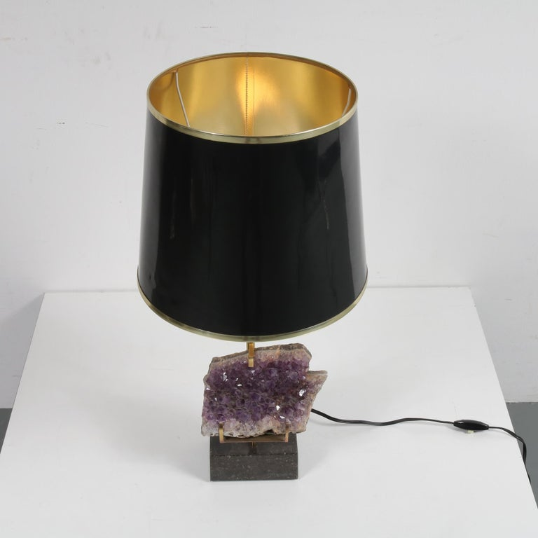 Amethyst Table Lamp in the Style of Willy Daro, 1970 In Good Condition For Sale In Amsterdam, NL