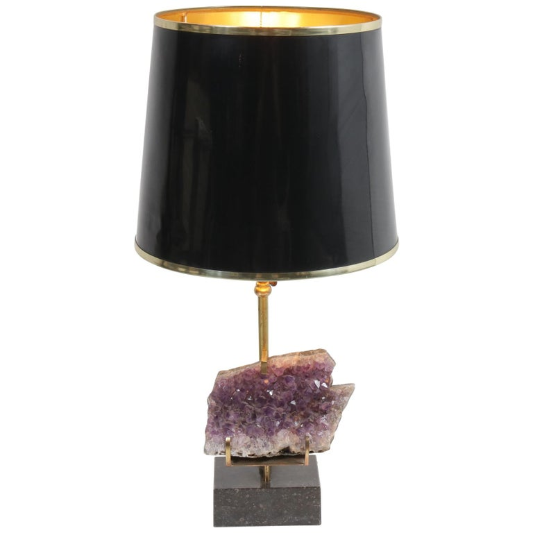 Amethyst Table Lamp in the Style of Willy Daro, 1970 For Sale