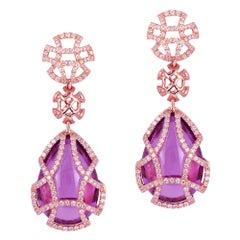 Goshwara Amethyst Teardrop Cage And Diamond Earrings