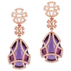 Goshwara Pear Shape Amethyst Teardrop Earrings