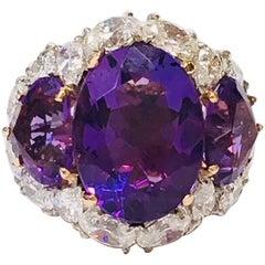 Amethyst Three-Stone Ring with Diamond Halo
