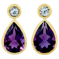 Amethyst Topaz 18 Karat Gold Earrings