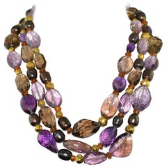 Amethyst Topaz and Pearl 18 Karat Yellow Gold Necklace