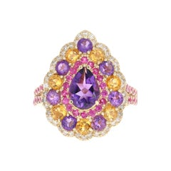 3.28 Carat Amethyst Topaz Sapphire Diamond 14 Karat Yellow Gold Cocktail Ring