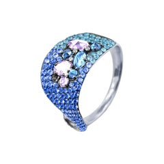 Amethyst Topaz White Diamond Blue Sapphire Designer Three-Stone White Gold Ring