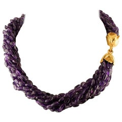 Amethyst Torchon Necklace with 18 Karat Yellow Gold Closure